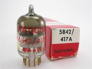 Amperex 5842 / 417A triode - National label, gold pins