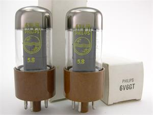 Philips 6V6GT - brown base, matched pair