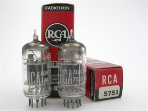 RCA 5751 / 12AX7 - black plates, triple mica, matched pair
